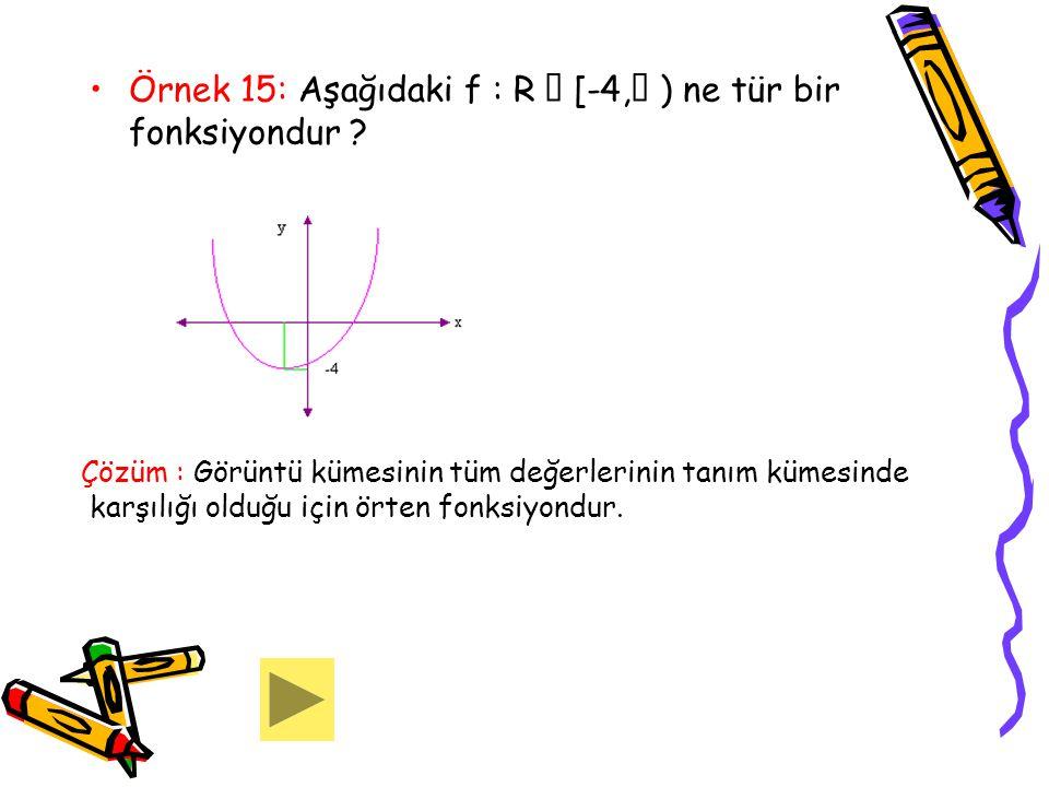 Örnek 15: Aşağıdaki f : R  [-4, ) ne tür bir fonksiyondur